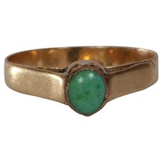 Victorian Turquoise Pinky Ring | 14K Yellow Gold | Antique Cabochon