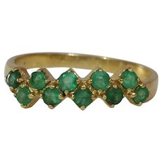 Emerald Gold Cocktail Ring | 14K Yellow Round | Vintage Brilliant Cut