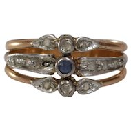 Sapphire Diamond Cocktail Ring | 18K Bicolor Gold | Antique Engagement
