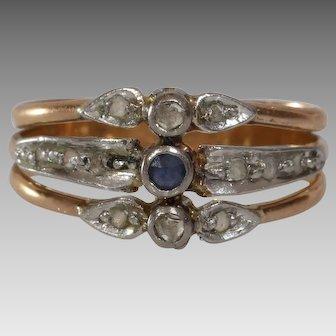 Sapphire Diamond Cocktail Ring | 18K Bicolor Gold | Antique Engagement