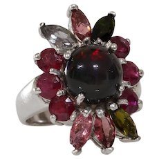 Opal Ruby Cocktail Ring | Tourmaline Sterling Silver | Vintage Topaz