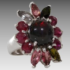 Opal Ruby Cocktail Ring   Tourmaline Sterling Silver   Vintage Topaz