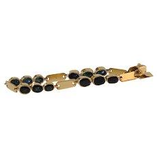 Sapphire Gold Link Bracelet | 18K Yellow Vintage | Blue Oval Italy