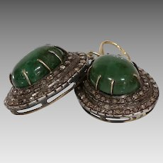 Victorian Emerald Diamond Earrings   15K Gold Silver   Cabochon Antique