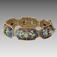 Chinese Export Jade Bracelet   Vermeil Sterling Silver   Vintage