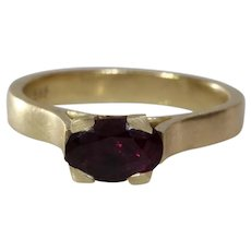 Purple Garnet Ring | 14K Yellow Gold | Oval Solitaire Vintage Cocktail