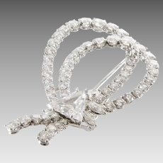 Diamond Bow Brooch   18K White Gold   Vintage Clip Pin Triangle Round