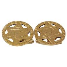 Magen David Gold Cufflinks | 9K Yellow Gold | Vintage Star Judaica