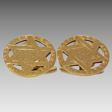 Magen David Gold Cufflinks   9K Yellow Gold   Vintage Star Judaica