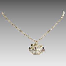 Flower Basket Pendant Necklace   14K Bicolor Gold   Vintage Link Chain