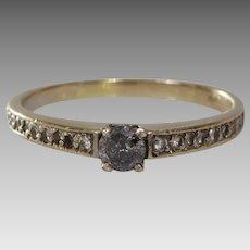 Gray Diamond Engagement Ring   18K Yellow Gold   Round Brilliant Vintage