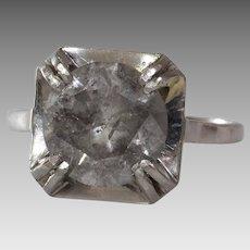 Fancy Gray Diamond Ring   Platinum Engagement   Art Deco Solitaire Grey