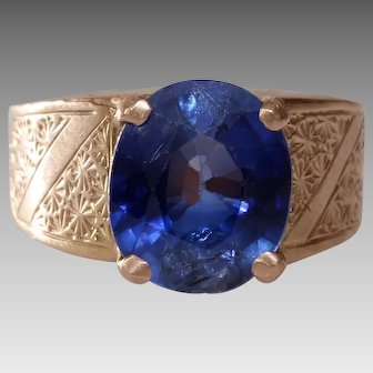 Blue Sapphire Mens Ring | 14K Rose Gold | Vintage Solitaire Oval Cut