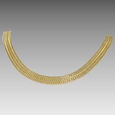 Braided Yellow Gold Necklace   14K Link Chain   Vintage Plaited USA