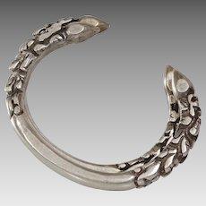 Kalli Cuff Anklet Bracelet   Sterling Silver Nepal   Vintage Tribal