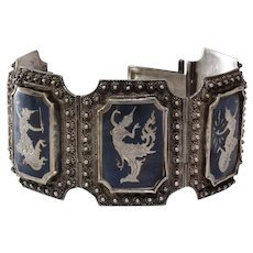Siam Sterling Niello Bracelet | Silver Enamel Thailand | Vintage Panel