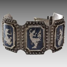 Siam Sterling Niello Bracelet   Silver Enamel Thailand   Vintage Panel