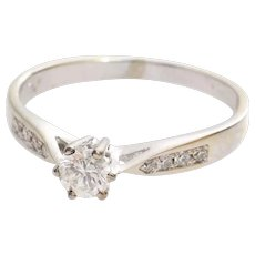 Vintage Diamond Engagement Ring | 14K White Gold | Round Brilliant Cut