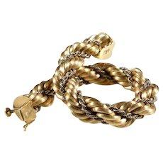 Gold Rope Bracelet   18K Yellow White   Vintage Switzerland Braided