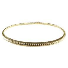 Gold Choker Necklace   14K Yellow Omega   Vintage Italy Symmetrical