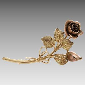 Gold Rose Flower Brooch   14K Bicolor Pin   Vintage Art Deco Austria