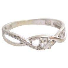 Vintage Diamond Engagement Ring   14 Karat White Gold   Brilliant Cut