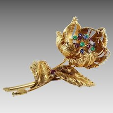 Cartier Flower Brooch | 18K Yellow Gold | Diamond Ruby Sapphire Emerald
