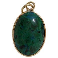 Eilat Stone Pendant | 14K Yellow Gold | Vintage Israel Jewelry Oval