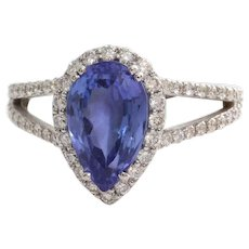 Tanzanite Diamond Engagement Ring | 18K White Gold | Vintage Halo Pear