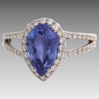 Tanzanite Diamond Engagement Ring   18K White Gold   Vintage Halo Pear
