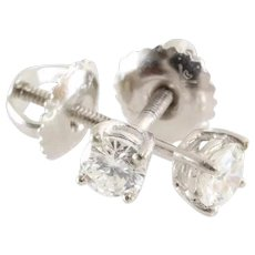 Diamond Stud Earrings | 14K White Gold Brilliant | Screw Back Vintage