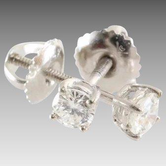 Diamond Stud Earrings   14K White Gold Brilliant   Screw Back Vintage