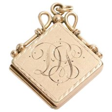 Retro Locket Pendant | 14K Yellow Gold | Vintage Monogram Initial