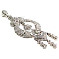 Edwardian Diamond Pendant   Platinum Old European Cut   Antique Drop