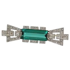 Art Deco Tourmaline Brooch | Platinum Diamond Gold | Bar Pin Vintage