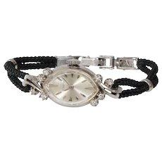 Art Deco Lecoultre Ladies Watch   14K White Gold Diamond   Vintage Wrist