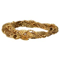 Braided Gold Bracelet | 21K Yellow Link Chain | Vintage Woven Flexible