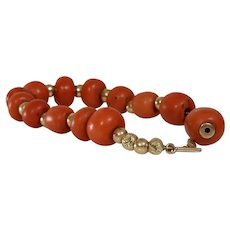 Victorian Coral Bead Necklace | 14K Yellow Gold | Antique Orange Salmon