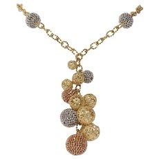 Tricolor Gold Ball Necklace | 14K Link Chain | Vintage Dangle Drop