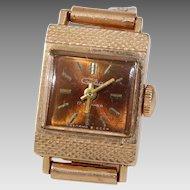 Russian Ladies Wrist Watch | 14K Yellow Gold | Vintage Rectangle Rose