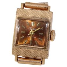 Russian Ladies Wrist Watch | 14K Yellow Gold | Vintage Rectangle Rose