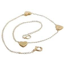 Gold Heart Bracelet | 14 Karat Yellow | Link Chain Vintage USA 14K