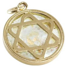 Magen David Pendant | 14K Gold Roman Glass | Israel Vintage Charm
