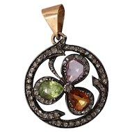 Victorian Clover Pendant | Diamond 18K Gold Silver | Peridot Amethyst