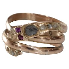 Victorian Snake Ring | 14K Rose Gold Diamond | Antique Serpent Ruby