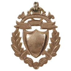 Edwardian Shield Pendant | 9K Rose Gold | Antique Engravable Charm UK