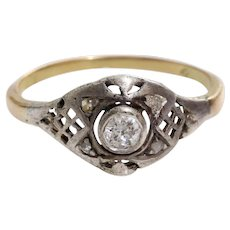 Victorian Diamond Engagement Ring | 14K Gold Silver | Antique Russian