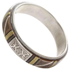African Silver Bangle Bracelet | Tuareg Ethnic Tribal | Vintage Berber