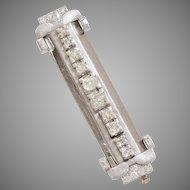 Art Deco Diamond Brooch   18K White Gold   Vintage Bar Pin France