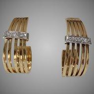 Retro Diamond Gold Earrings | 14K Bicolor Vintage | C Shaped Hoop Drop